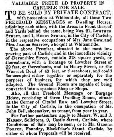 Sale of 1 Henry Street, Carlisle, 1853