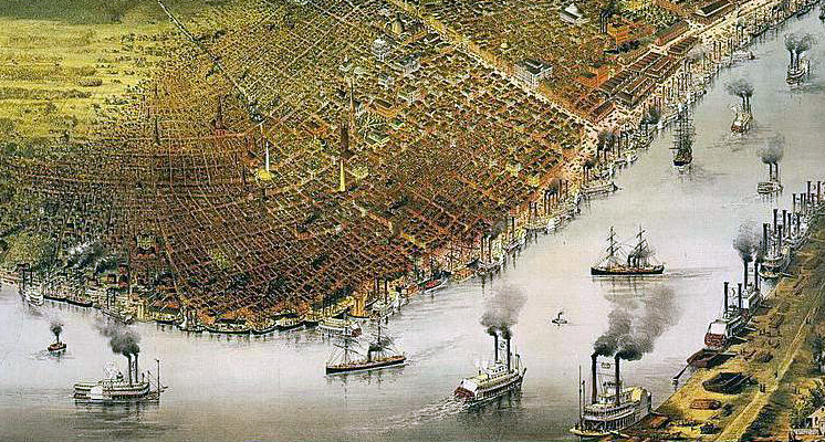 Aerial View of New Orleans 1885