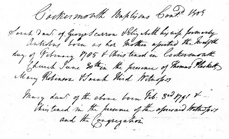 Baptism of Sarah Scarrow, Cockermouth 1805