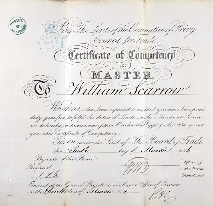 Master's Certificate of Competency, William Scarrow