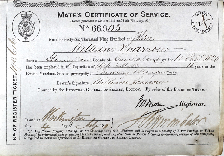 William Scarrow Mate's Certificate of Service