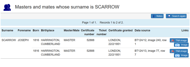 CLIP entry for Scarrow, search of Masters BT124