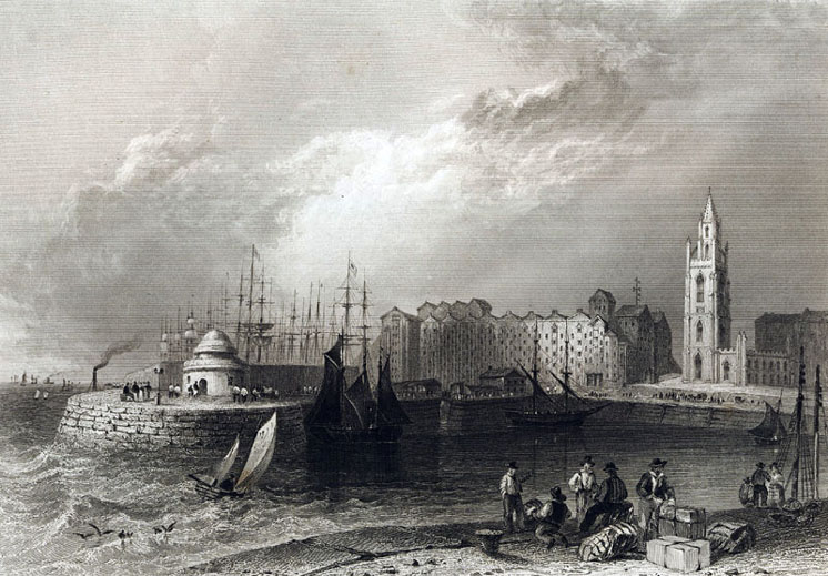 Liverpool dock and church circa 1840
